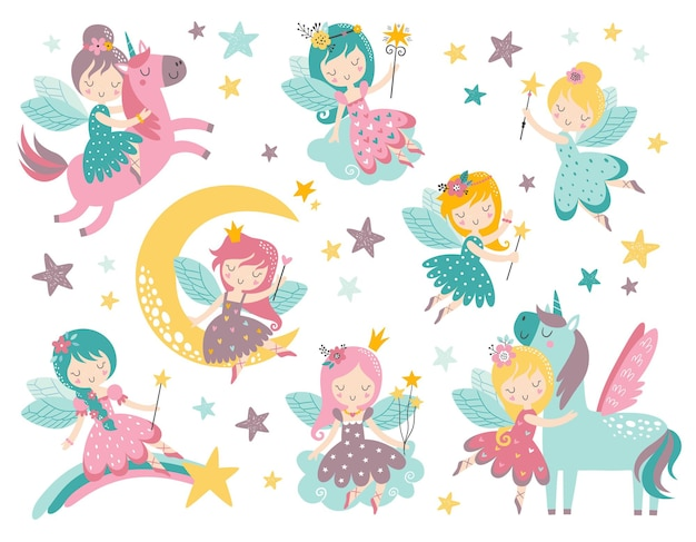 Vector childish set with fairy flowers unicorn rainbow and other elements