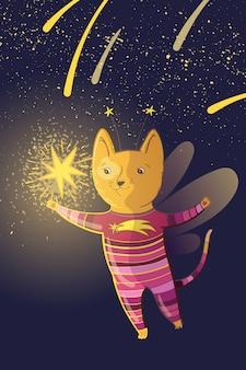 Векторная детская фея иллюстрация с мечтательной кошкой и звездами.
