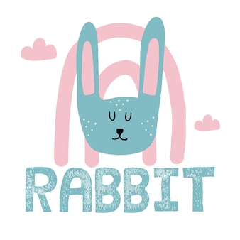Vector childrens handdrawn illustration of a rabbit head rabbit with rainbow and clouds