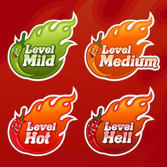 Vector chili peppers level, with four alternative spicy choices