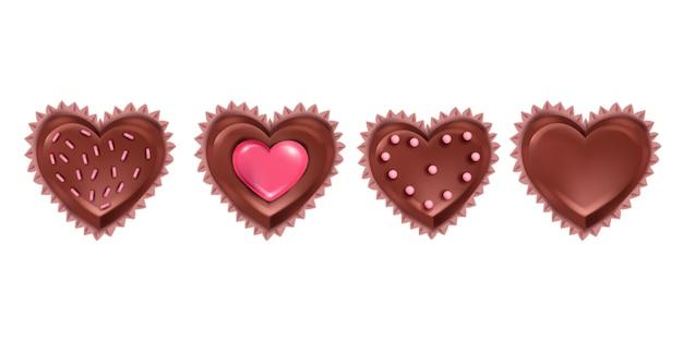 Вектор шоколадные конфеты день святого валентина реалистичный набор, изолированные на белом. сладкие романтические 3d-десертные иконки с праздничными кексами в форме сердца. шоколадные конфеты февральский подарок вкусная коллекция