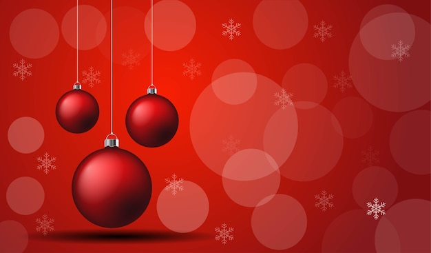 Vector of chrismas ball on the red background