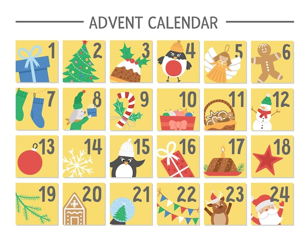 Vector christmas advent calendar with traditional holiday symbols. cute winter planner for kids. festive poster or box packaging design with santa claus, fir tree, deer, present