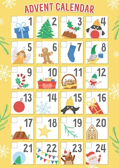 Vector christmas advent calendar with traditional holiday symbols. cute winter planner for kids. festive poster design with santa claus, fir tree, deer, present