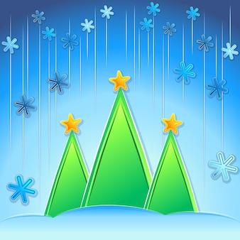 クリスマスツリーと雪片とベクトルのクリスマスの背景