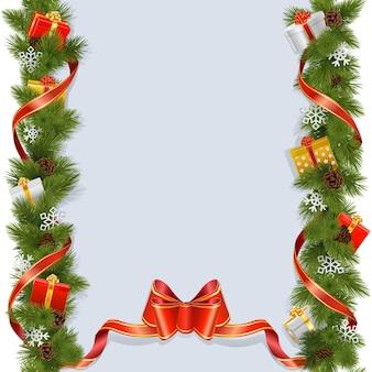 白い背景で隔離のギフトとベクトルのクリスマスの背景