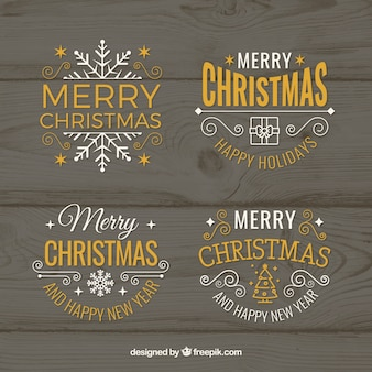 Vector christmas badges and labels