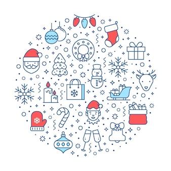 休日の線のシンボルとベクトルのクリスマスバナー