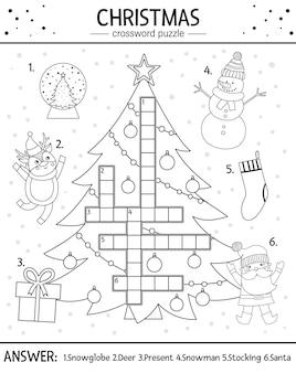 아이들을 위한 벡터 크리스마스 흑백 낱말 퍼즐입니다. 어린이를 위한 겨울 방학 물건이 있는 간단한 퀴즈입니다. 전통적인 새해 요소가 있는 교육 활동 또는 색칠 페이지.