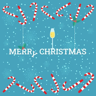 シャンパン、ヒイラギの果実、キャンディケインのガラスとベクトルのクリスマスカード。