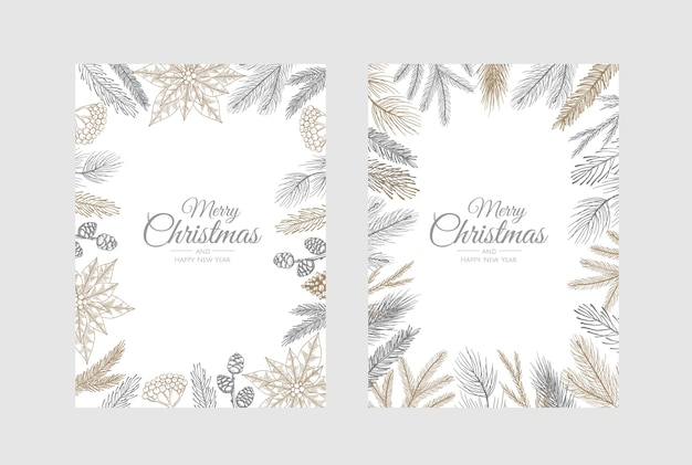 Vector christmas cards set. holiday party card templates design.