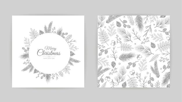 벡터 크리스마스 카드 세트입니다. 휴일 파티 카드 템플릿 디자인.