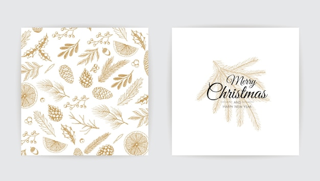 Vector christmas cards set. holiday party card templates.