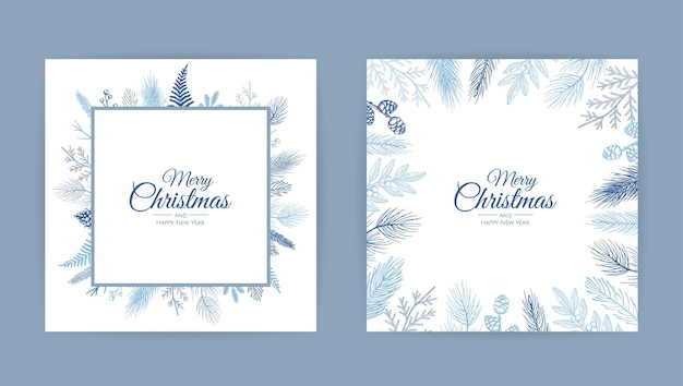 Vector christmas cards set.