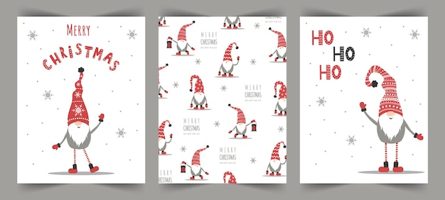 Vector christmas cards with gnomes. season greeting.