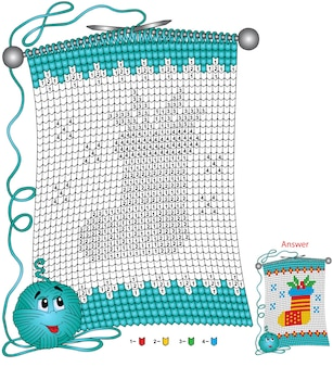 Vector christmas coloring page. tasks for children color by number in the shape of a knitted scarf with the image of a christmas sock