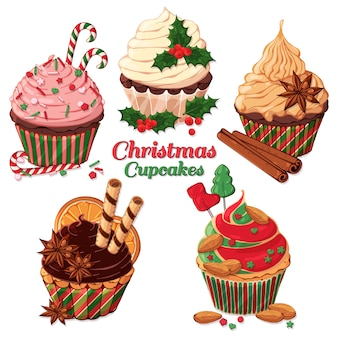 Vector christmas cupcakes decorated with candies