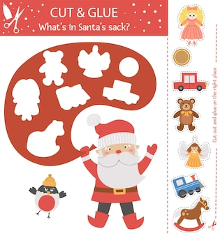 Vector christmas cut and glue activity. winter educational crafting game with cute santa claus, bullfinch and toys. fun activity for kids. what's in santa's sack?