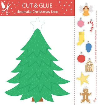 Vector christmas cut and glue activity. winter educational crafting game with cute toys, gingerbread, stocking. fun activity for kids. decorate fir tree
