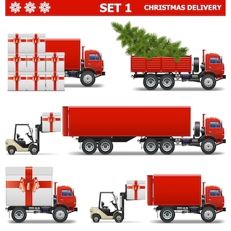Vector christmas delivery set 1
