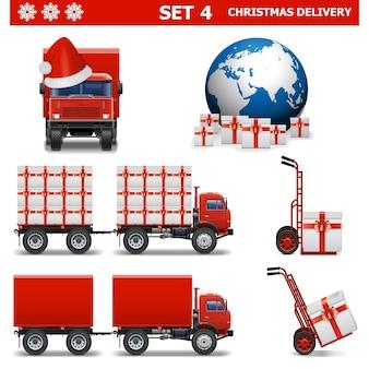 Векторный набор рождественской доставки 4