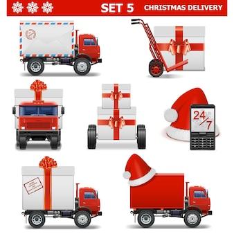 Векторный набор рождественской доставки 5