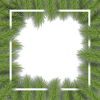 デザインのためのスペースを持つ松の枝とベクトルのクリスマスフレーム。漫画の新年のフレームの背景、あなたのテキストのためのスペース。