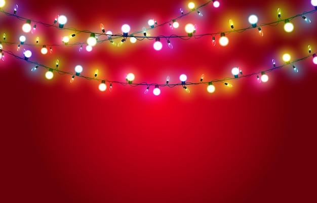 赤い背景の上のベクトルクリスマスガーランドライトライトガーランドマルチカラーライトクリスマス