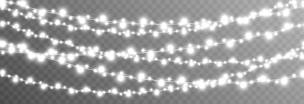 隔離された透明な背景の上のベクトルクリスマスガーランドライトライトガーランドpngクリスマス