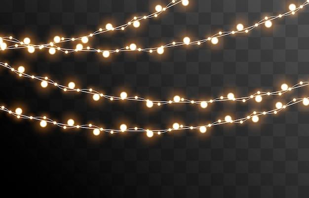 孤立した透明な背景の上のベクトルクリスマスガーランドライトライトガーランドpng