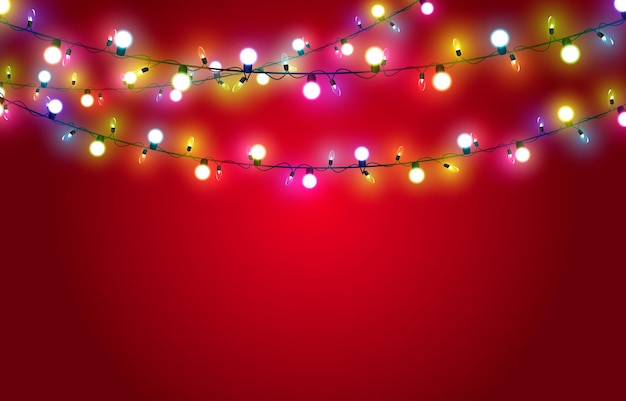Vector christmas garland on a red background light light garland multicolored light christmas