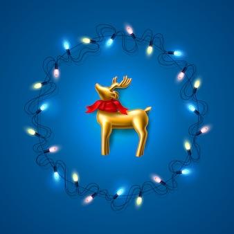 ガーランドブルーのベクトルクリスマスゴールデントナカイ