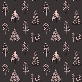 Vector christmas hand drawn seamless pattern.