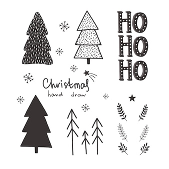 Vector christmas hand drawn set.