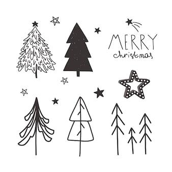벡터 크리스마스 손으로 그린 세트입니다.