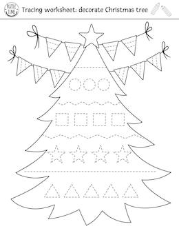 벡터 크리스마스 필기 연습 워크시트입니다. 미취학 아동을 위한 겨울 인쇄용 흑백 활동. 쓰기 능력을 위한 교육 추적 게임. 새해 나무 장식