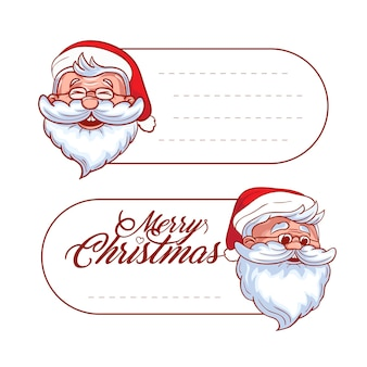 Vector christmas and holidays hang tag labels or stickers with santa claus and place for your text. christmas and new year holidays decoration elements with cartoon characters isolated on white.