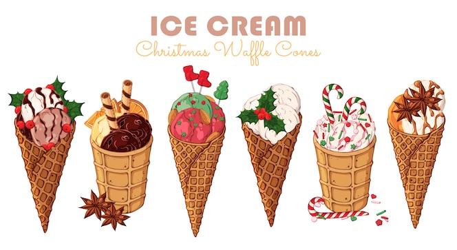 Vector christmas ice cream in waffle cones.