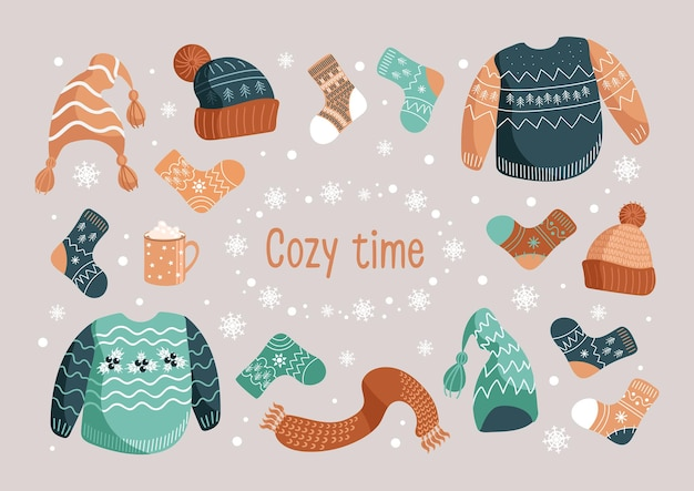 Vector christmas illustration set of winter warm clothes hats socks ugly sweater