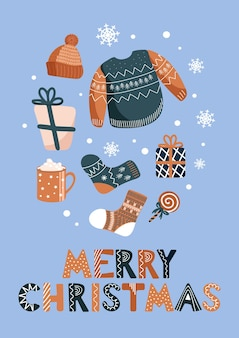 Vector christmas illustration of winter warm clothes hats socks ugly christmas sweater jumper