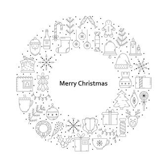 テキストの場所とラウンドのアイコンのセットでクリスマスのイラストをベクトルします。