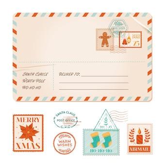벡터 크리스마스 초대 오래 된 우편 카드, 겨울 빈티지 엽서, 크리스마스 파티 우표, 고무 우표, 휴일 인사말, 스크랩북 디자인 요소, 우편 우표, 포인세티아, 쿠키, 촛불