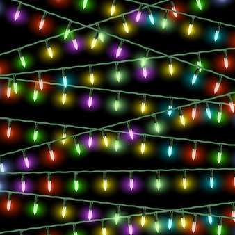 Vector christmas lights on black background