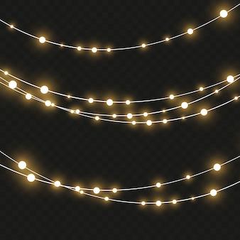 Векторные рождественские огни, изолированные. рождественские светящиеся гирлянды.