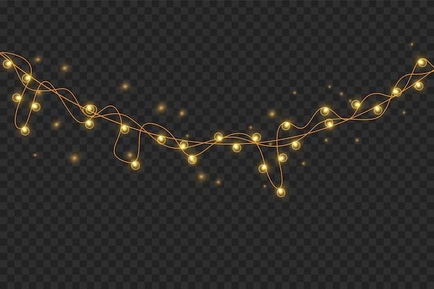 透明な背景に分離されたベクトルのクリスマスライト。クリスマスに輝く花輪。白い半透明の新年の装飾ライト。ネオンランプを導いた。クリスマス休暇のための明るいライト