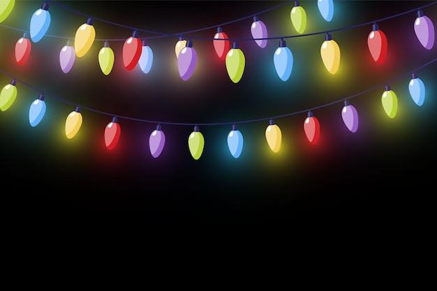 벡터 크리스마스 조명, 투명 한 배경에 고립. 빛나는 크리스마스 화환. 흰색 반투명 새해 장식 조명. led 네온 램프입니다. 크리스마스 휴가를 위한 빛나는 조명