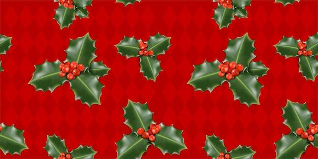 赤い背景の上のベクトルクリスマスヤドリギパターン
