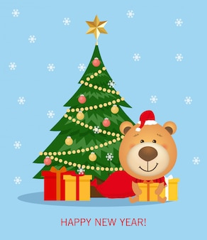 Vector christmas and new year greeting card with christmas tree and decorations