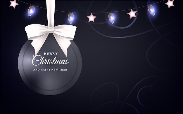 Vector christmas and new year greeting card with round frame bow and christmas lights on black