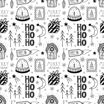 Vector christmas and new year hand drawn seamless pattern.